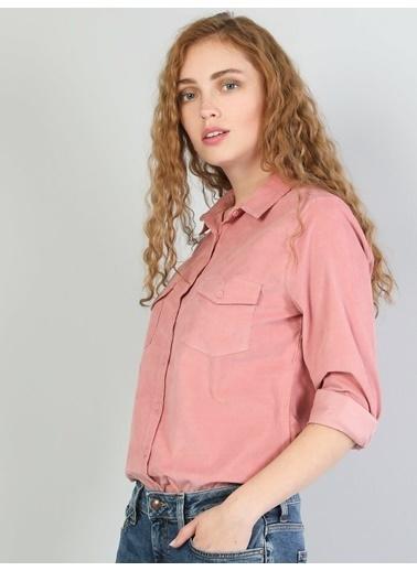 Colin's Slim Fit Shirt Neck Kadın Uzun Kol Gömlek Pembe